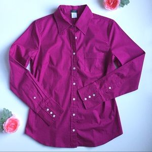 J. Crew Factory Magenta Button Down Shirt, Small
